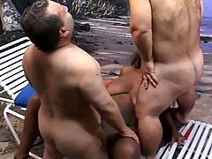 Hot midget threesome having a hot and moistness interacial enactment